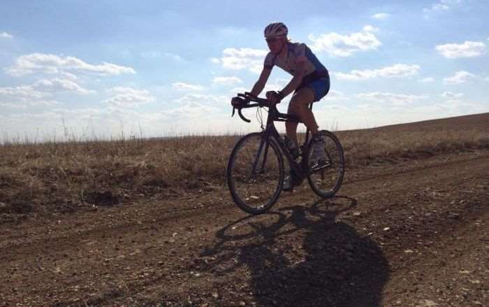 Nate rolling some training miles before B.R.