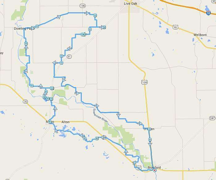 The route, with plenty of pauses for hydration and photos.