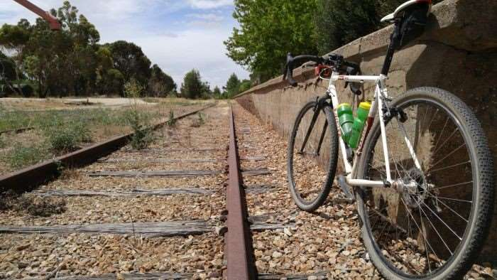 JOM's bike leaned against the Farrell Flat railway station.