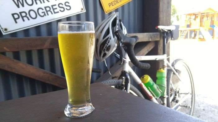 Maxxis Ramblers and a well earned mid-ride beer.