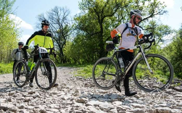 Photo by TMB Images. Some riders preferred to tip toe across the dry creek bed.