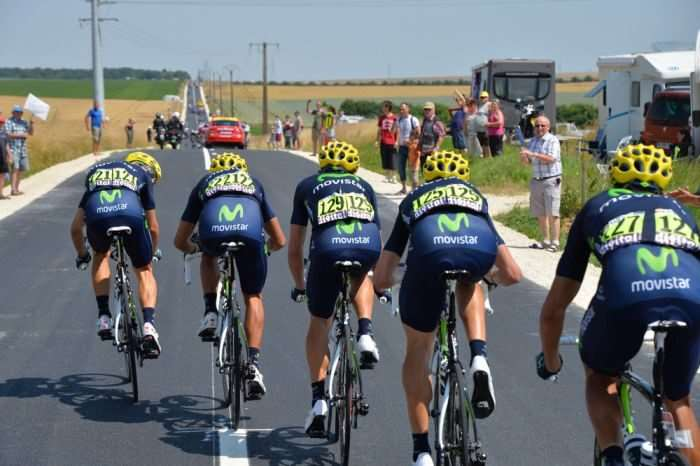 Team Movistar chase in Echelon formation.
