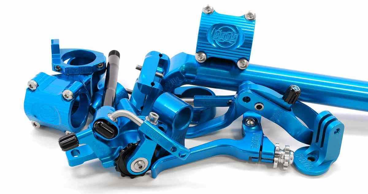 paul components anodized blue parts