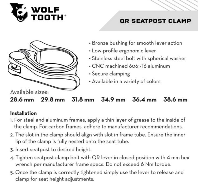 wolftooth seatpost clamp review