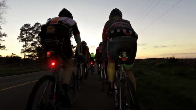 gravel cycling at night