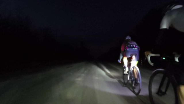 gravel cycling at night time